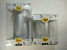 """Set of 2 The Amazing Flameless Wax LED Candles Timer Silver 3"""" x 4"""" & 3"""" x 6"""""""