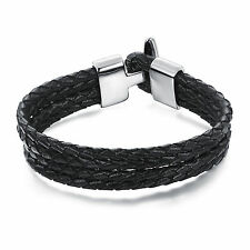 Echtleder 21cm Edelstahl Herren Armband Armkette Armreif Schmuck Bracelet NEU