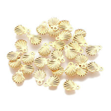 100x Stainless Steel Pendant Shell Golden Jewelry Finding Charm Chain Necklace