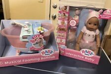 Baby Born Interactive Baby Doll And Musical Foaming Bathtub - New - Cries Tears