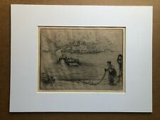 Signed 1959 Etching WILLIAM K  HAGERMAN 'Kentucky River' Ferry Julia 12 x 16