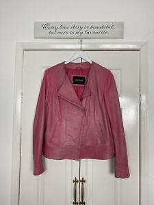 Lakeland Jacket Fits UK 10 12 Pink Leather Biker Spring Autumn Bright FLAW