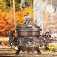 Chinese Copper Alloy Double Dragon Hollow Cover Incense Burner Censer Home Decor