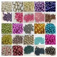 200x 4mm / 100x 6mm / 50x 8mm / 25x 10mm Glass Pearl Beads - Various Colour UK