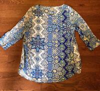 Chico's Zenergy Blouse Women's Size 2 Blue Geometric Tunic 3/4 Sleeve Rayon