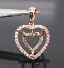 12x12MM Heart Cut Solid 14K Rose Gold Natural Diamond Semi Mount Pendant