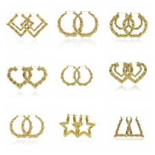 Gran Bambú Hip-Hop Pendientes de botón Círculo Aretes Mujer Joyería Earrings