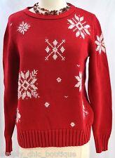 Liz Claiborne Ugly Tacky Christmas Sweater pullover Nordic snowflake ski S VTG