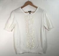 Talbots Women's Size M Pima Cotton Short Sleeve Cardigan Pearl Embroidery