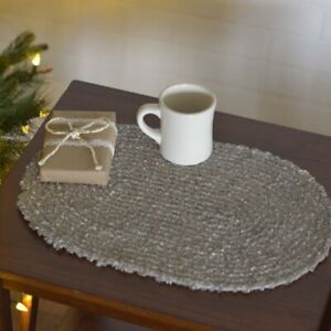"""VHC Brands Country 12""""x18"""" Placemat Set of 6 Grey Christmas Dyani Holiday Decor"""