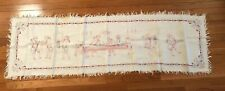 Vintage Redwork Embroidery Depicts 1700's American Political Revolution - RARE