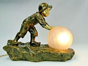 """ARISTIDE DE RANIERI (1865-1929) SPL. LAMPE ART NOUVEAU 1900 """"BOULE DE NEIGE"""""""