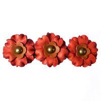 Pince barrette cheveux femme ethnique 3 fleurs cuir rouge marron clair bronze