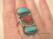 Estate Long Vintage NAVAJO Style Sterling Silver TURQUOISE & Coral RING, size 9