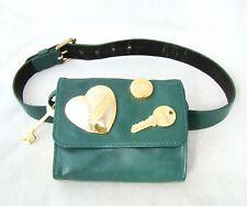 MOSCHINO belt waist bag leather purse fanny pack green gold wallet unisex
