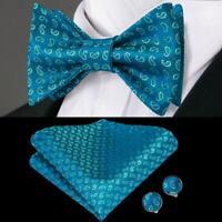Blue Green Paisley Self Bow Tie Classic Mens Silk Necktie Bowtie Set Wedding