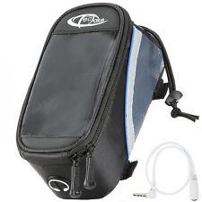 Bolsa funda frontal bicicleta manillar bolso bici móvil smartphone M negro-azul