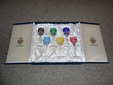 SIX FABERGE XENIA CUT TO CLEAR CRYSTAL WINE GLASSES IN ORIGINAL PRESENTATION BOX