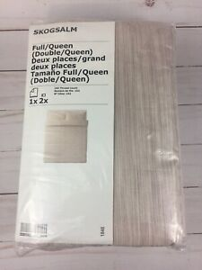 Ikea Skogsalm Full/Queen Duvet Cover w/2 Pillowcases Bed Set Woven Pink Striped
