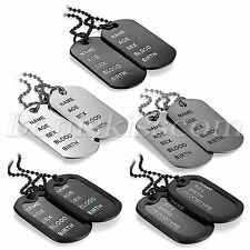 Mens Fashion Army Style 2 Dog Tags Address Engraved Pendant Necklace Chain 27.6""