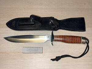 """SOG AG01 Agency Fixed 7.5"""" Satin Blade Leather Handle Taiwan Discontinued Rare"""