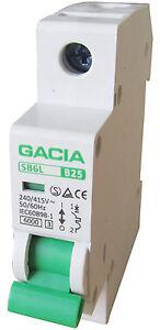 Leitungsschutzschalter GACIA SB6L 1P B25A, Sicherungsautomat MCB
