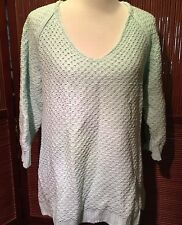 Soft Surroundings Loose Knit Tunic Sweater Mint Green 3/4 Sleeve Sz M