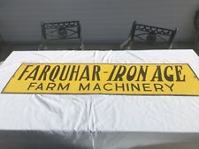 Original (un-retouched) Farquhar- IRON AGE Farm Machinery porcelain sign