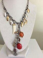 $49 Lucky Brand Safari Giraffe, Tusk & Coral Charm Necklace Silver & Gold 306a