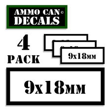 """9 x 18mm Ammo Can 4x Labels Ammunition 3""""x1.15"""" stickers decal 4 pack WT"""