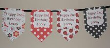 PERSONALISED GIRLS LADYBUG THEME BUNTING BANNER GREAT FOR BIRTHDAYS LOOK!!
