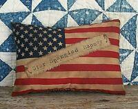 "Primitive FLAG PILLOW ""Star Spangled Banner"" Rustic Americana Farmhouse Decor"