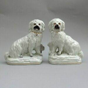 Pair of 19thC Staffordshire Dogs ~ Separate Leg on Base / Antique Spaniels