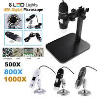 500X/800X/1000X Microscope numérique Endoscope de 8LED USB 2.0 Zoom Loupe Caméra