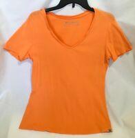 Women's T-Shirt Size L Orange V-Neck Cotton Blend Eddie Bauer