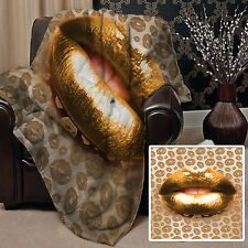 Gold Lips Design Soft Fleece Blanket Cover Throw Bed Home Sofa L&sprints