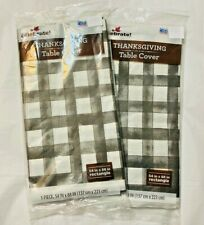 Harvest Black White Plaid Thanksgiving Party Decoration Paper Table Cover - 2