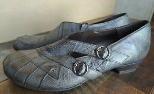 Fidji Gray Leather Double Buckle Slip On Block Heel Shoes Women's EU 40/US 10