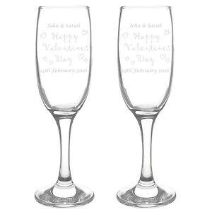 VALENTINES DAY GIFT   PAIR OF PERSONALISED CHAMPAGNE WINE FLUTE GLASSES present