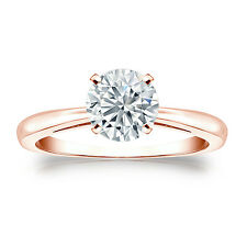 Certified 14k Rose Gold 4-Prong Round Diamond Solitaire Ring 1.00ctw G-H, I2-I3