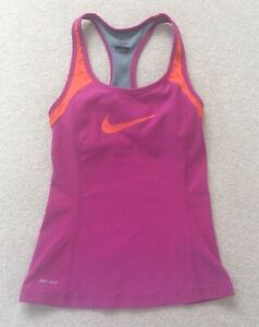 Ladies Nike Dri-Fit Pink Vest Top With Built in Bra Size UK X Small
