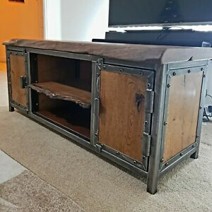 Industrial Style TV Cabinet TV Stand Solid Live Edge Industrial Rustic Furniture