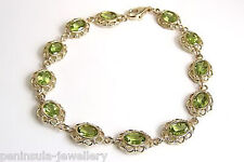 Solid 9ct Gold Peridot Bracelet Gift Boxed Hallmarked Made in UK