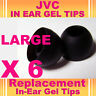 6 JVC In Ear Buds HeadPhones Headset Earphones Gel Tips Large