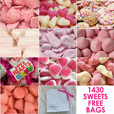 PINK CANDY SWEETIE TABLE BUFFET BAR WEDDING PARTY BIRTHDAY 1430 sweet +FREE BAGS