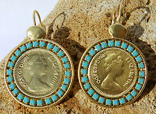 Queen Elizabeth Coin Pound Gold 24k Plated Dangle Earrings Turquoise Stone