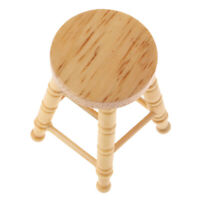 1/12 Scale Wooden Round Stool Seating Doll House Miniature Wood Chairs Room Tems