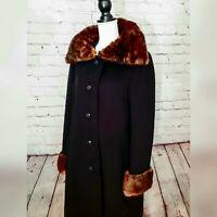 Vintage 1950's Saks Fifth Avenue Womens Black Wool Coat With Real Fur Trim