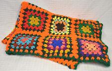 """Vtg Granny Squares Afghan Handmade Crochet Blanket Throw 48x66"""" Orange Bright"""