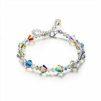 Women 925 Silver Mystic Rainbow Topaz Bracelet Bangle Suit Fashion Jewelry Gift